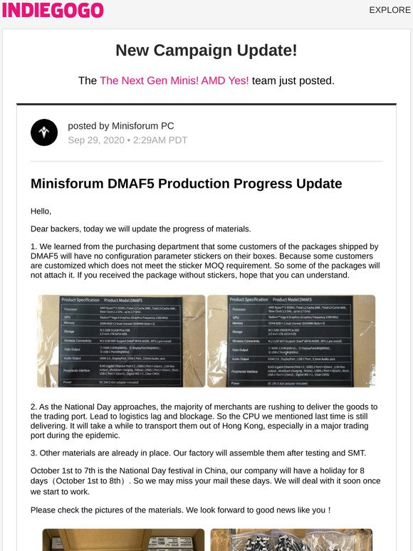 Indiegogo Update 11 From The Next Gen Minis Amd Yes Milled