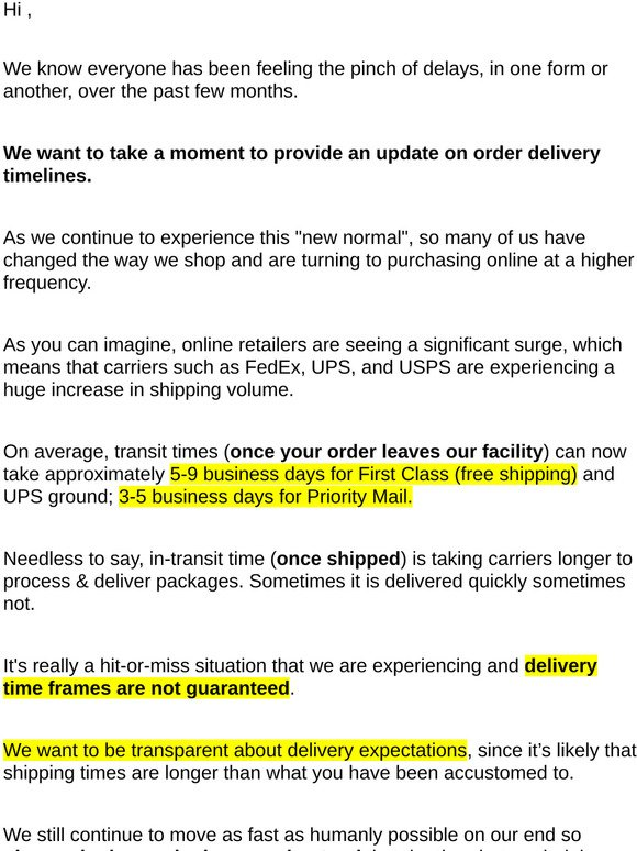Smb Essentials Plain Jane Beauty Shipping Delivery Update Milled