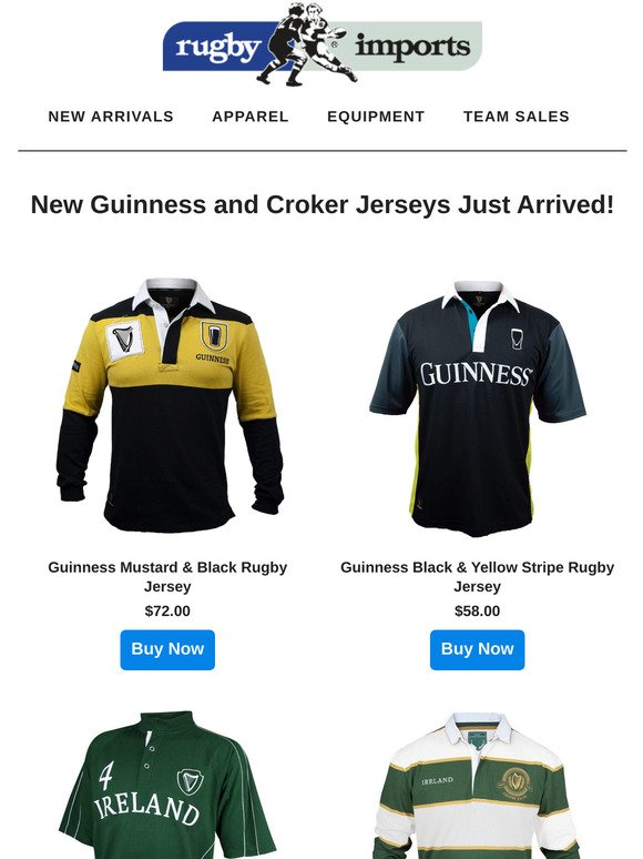 Guinness Mustard /& Black Rugby Jersey