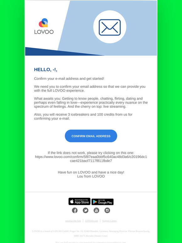 Lovoo: Please confirm your email on LOVOO   Milled