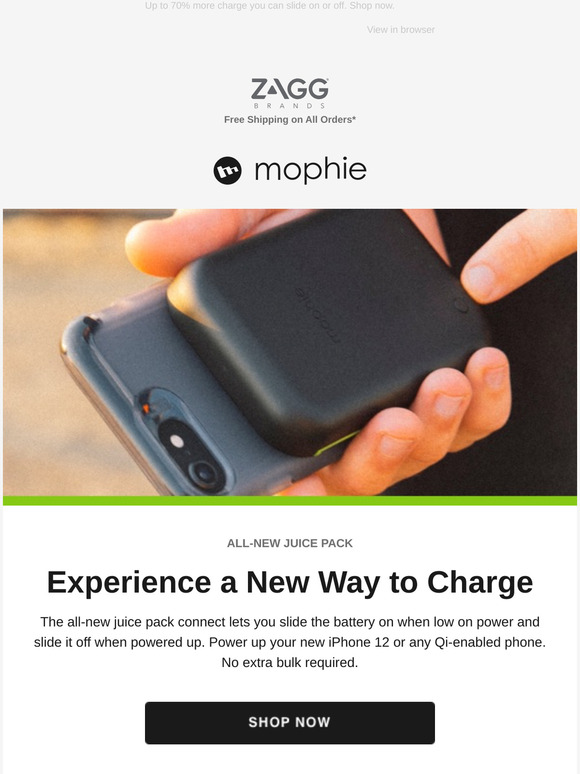 Mophie Power On Demand With The All New Juice Pack Connect Milled The juice pack connect battery lets you easily charge your phone without the need to constantly have a battery attached. juice pack connect