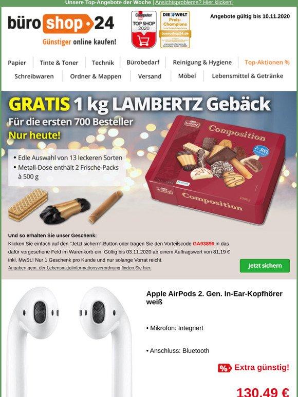 bueroshop24 DE: Nur heute: GRATIS 1kg LAMBERTZ Gebäck
