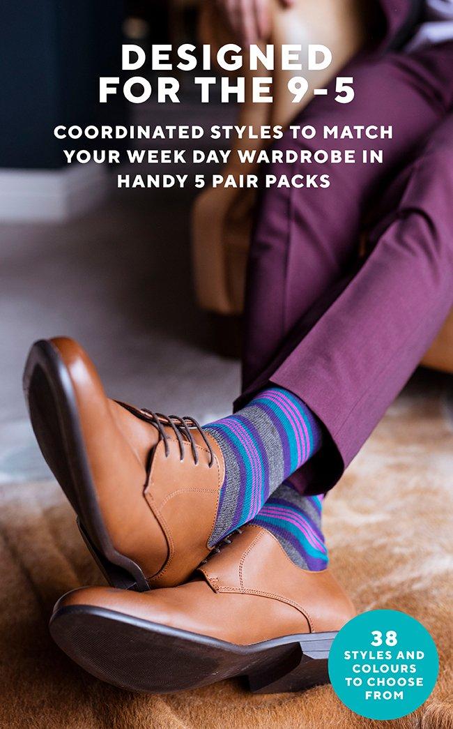 Mens 5 Pair SockShop Bamboo Suit Socks