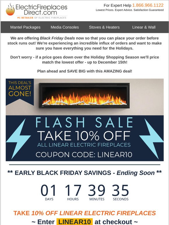 Electric Fireplaces Direct Ends Tomorrow Save 10 Early Black Friday Deals Milled