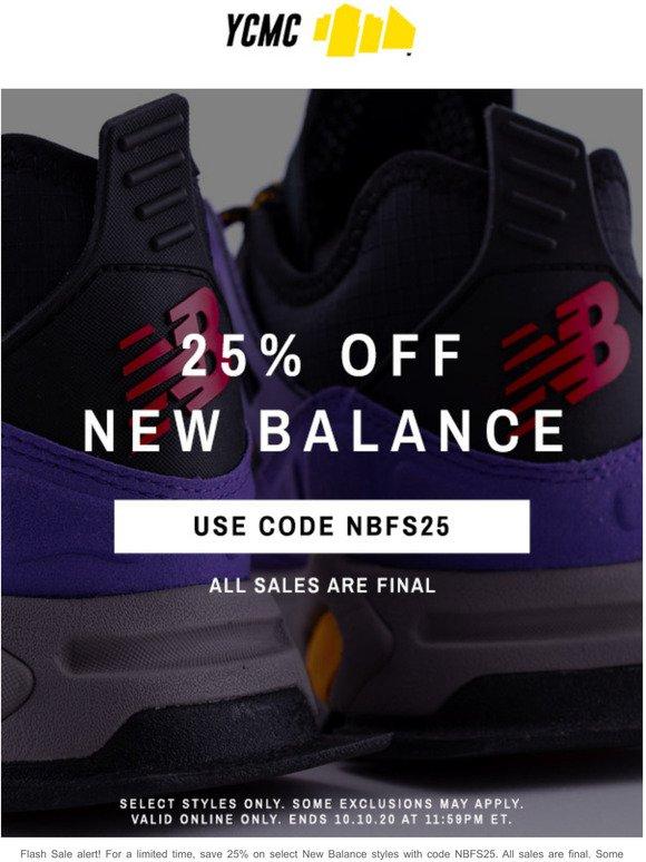 Flash Sale: 25% Off New Balance   Milled