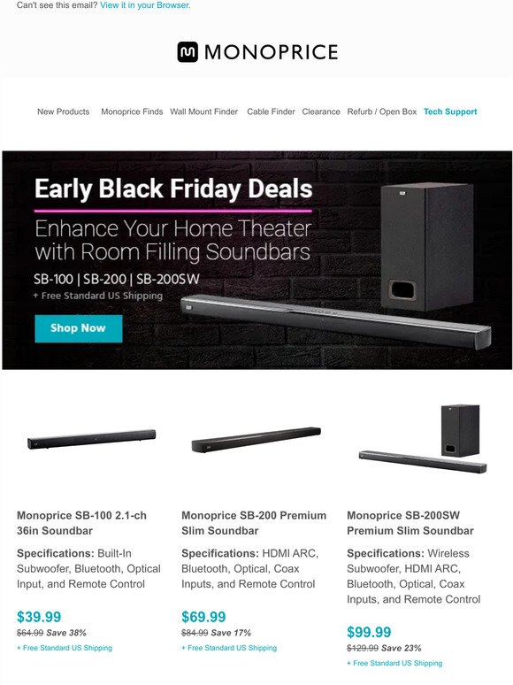 Monoprice Com Early Access Black Friday Soundbar Deals Starting At 39 99 Free Shipping Milled