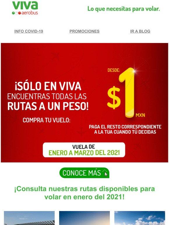 VivaAerobus: 📢 ¡Todas nuestras rutas desde $1 MXN! ✈️ Vuela de enero a  marzo del 2021. | Milled