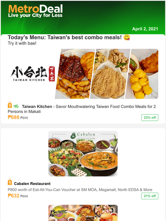 Metrodeal Ph Today S Menu Taiwan S Best Combo Meals Milled