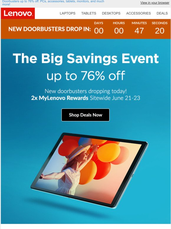 Lenovo: Save up to 76% on select doorbusters.